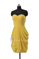 Daffodil yellow knee length strapless chiffon bridesmaid dress special occasion formal dresses(bm643s)
