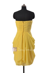 Daffodil Yellow Knee Length Strapless Chiffon Bridesmaid Dress Formal Dress(BM643S)