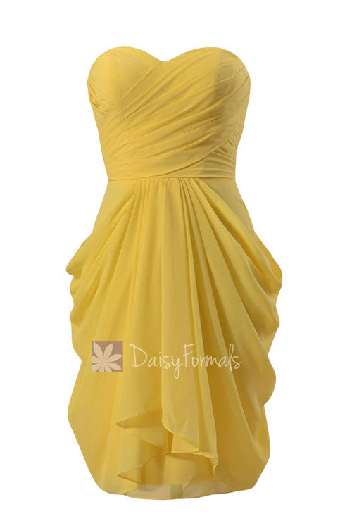 Daffodil yellow knee length strapless chiffon bridesmaid dress special occasion formal dress(bm643s)