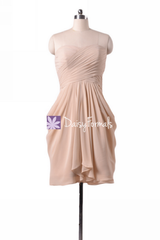 Apricot chiffon party dress knee length unique bridesmaids dress beach wedding party dress (bm643s)