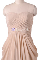 Apricot chiffon party dress knee length unique bridesmaids dress beach wedding party dresses (bm643s)