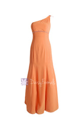 Long mute orange chiffon bridesmaid dress trumpet one shoulder prom dress(bm6515)