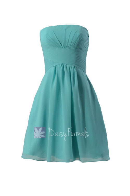 Short strapless chiffon prom dress tiffany blue discount bridesmaid dress(bm718)