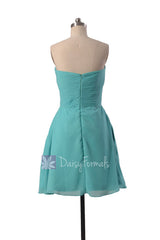 Short strapless chiffon prom dress tiffany blue discount bridesmaid dresses(bm718)