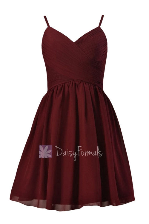 In stock,ready to ship - mini length red chiffon bridesmaid dress cheap w/spaghetti straps (bm8515n)- (falu red)