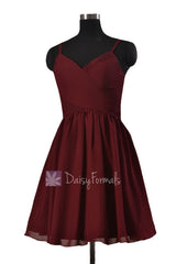 In stock,ready to ship - mini length red chiffon bridesmaid dresses cheap w/spaghetti straps (bm8515n)- (falu red)