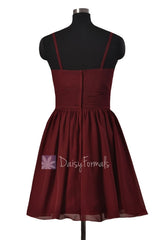 In stock,Ready to Ship - Mini Length Red Chiffon Bridesmaid Dress W/Spaghetti Straps (BM8515N)- (Falu Red)
