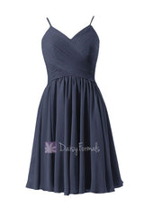 A-line navy blue bridesmaid dress short bridesmaid dress chiffon party dress homecoming dress (bm8515)