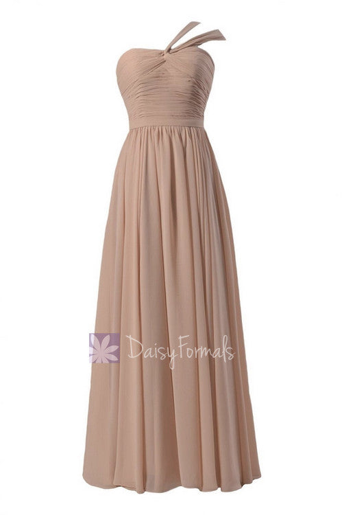 Peach floor length inexpensive chiffon bridesmaid dress ice apricot formal dress w/ straps(bm731l)