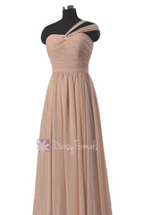 Peach Floor Length Chiffon Bridesmaid Dress Ice Apricot Formal Dress w/ Straps(BM731L)