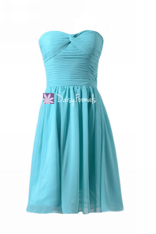Aqua Blue Strapless Chiffon Party Dress Cocktail Green Blue Beach Wedding Dress (BM731ATS)