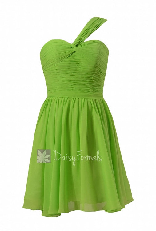 Yellow green chiffon mini skirt bridesmaid dress bridal party dress(bm731n)