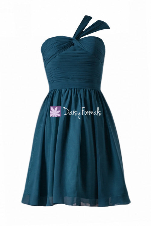 Beautiful mini bridesmaids dress rich teal cocktail chiffon party dress (bm731n)