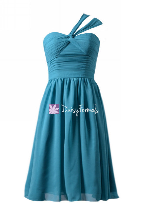Cyan One-Shoulder Cocktail Chiffon Party Dress Sweetheart Bridesmaids Dress(BM731S)