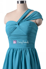 Cyan one-shoulder cocktail chiffon party dress sweetheart bridesmaids dresses(bm731s)
