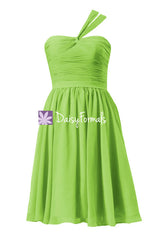 Chartreuse yellow cocktail dress knee length yellow green bridesmaid dress (bm731s)