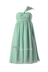 Mint empire knee length chiffon bridesmaid dress mint maternity bridal party dress online(bm731em)