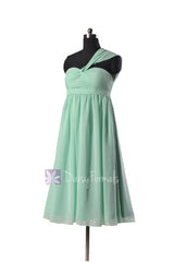 Mint empire knee length chiffon bridesmaid dress mint maternity bridal party dresses online(bm731em)