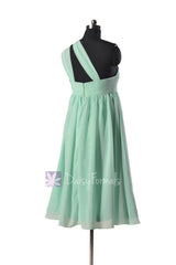 Mint Empire Knee Length Chiffon Bridesmaid Dress Mint Maternity Bridal Party Dress(BM731EM)