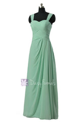 Floor length chiffon bridesmaid dress w/ straps mint elegant formal dresses(bm732l)