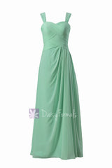 Floor length chiffon bridesmaid dress w/ straps mint elegant formal dress(bm732l)