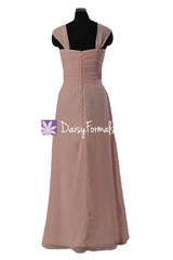 Lustrous Linen Chiffon Bridesmaid Dress Stylish Long Party Wears Pleated Dress (BM732)