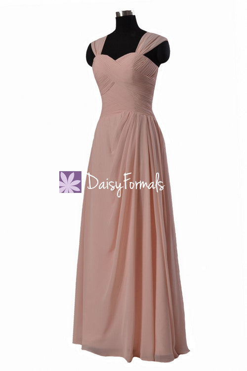 Lustrous linen unique chiffon bridesmaid dress stylish long party wears pleated dress (bm732)