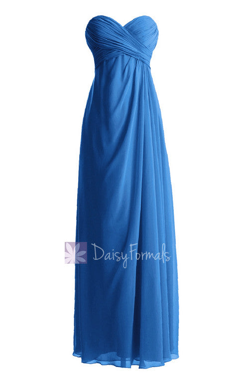 Hot sale floor length chiffon bridesmaid dress empire royal blue bridal party dress online(bm7712)