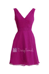 Sexy deep v-neck bridal party dress short american beauty affordable bridesmaid dress(bm7732)