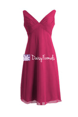 Magenta dye affordable bridesmaid dress empire party dress w/straps v neckline formal dress (bm7726)