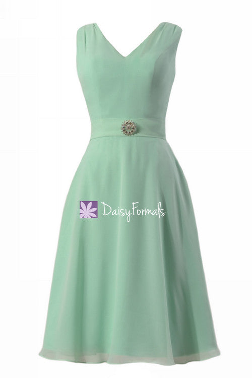 Mint green chiffon wedding party dress v neckline sexy prom cocktail party dress (bm7732)