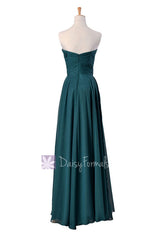 Long black chiffon bridesmaid dress strapless formal evening gowns (bm7860)