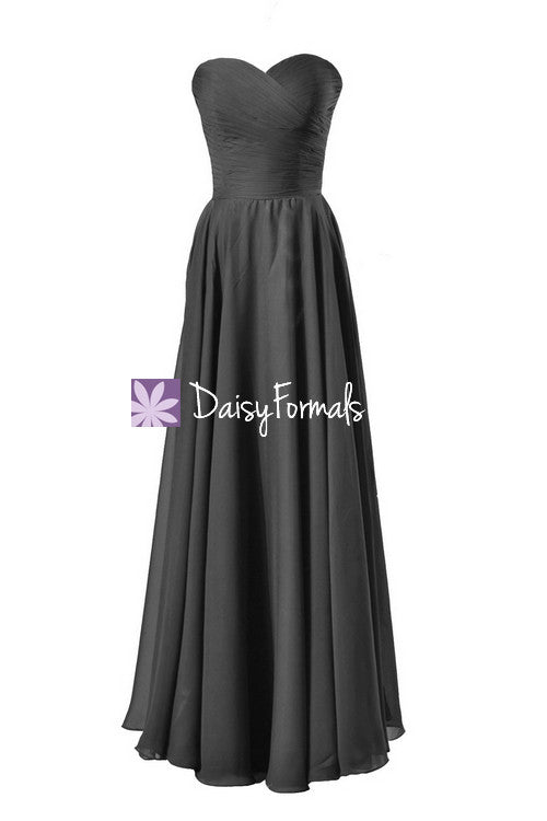 Long black chiffon bridesmaid dress strapless formal evening gown (bm7860)