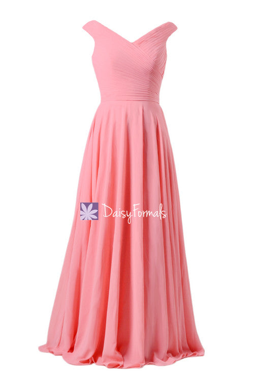 Off-shoulder elegant bridesmaids dress long light coral party dress sexy evening dress w/v neckline (bm7888)