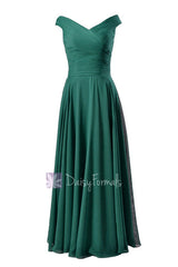Vintage off-shoulder elegant bridesmaid dress long rich peacock formal dress(bm7888)
