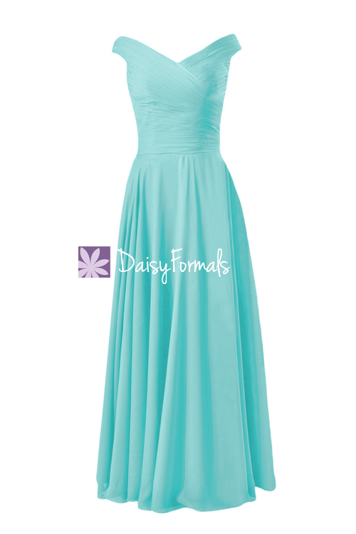 Classic turquoise party dress long off-shoulder unique bridesmaid dress chiffon evening dress(bm7888)