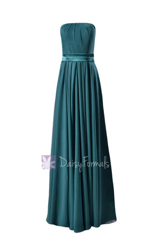 Charming Strapless Chiffon Bridesmaid Dress Long Dark Teal Evening Dress(BM7893)