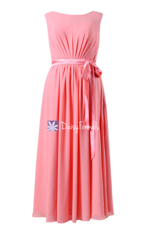 Plus size bridesmaids dress long modest prom dress light coral chiffon party dress (bm7897)