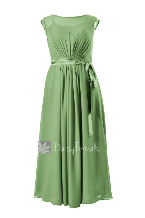 Elegant floor length bridemaid dress sage green chiffon formal dress w/cap sleeves(bm7897)