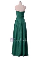 Charming long rich peacock best bridesmaid dress strapless luxury chiffon dresses(bm7915)