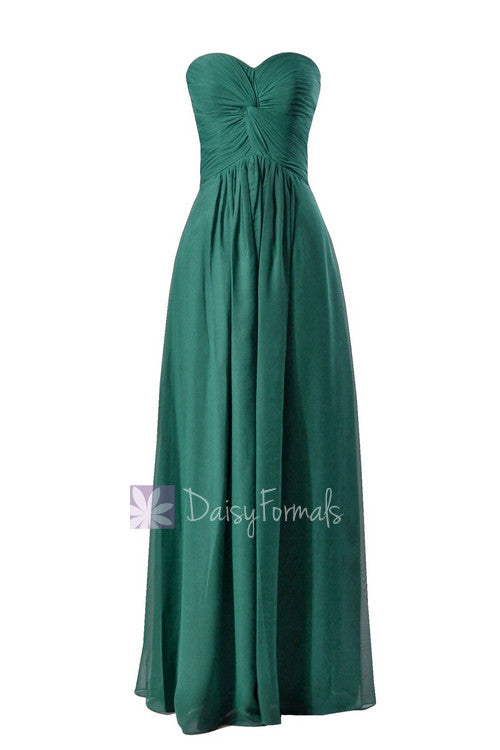 Charming long rich peacock best bridesmaid dress strapless luxury chiffon dress(bm7915)