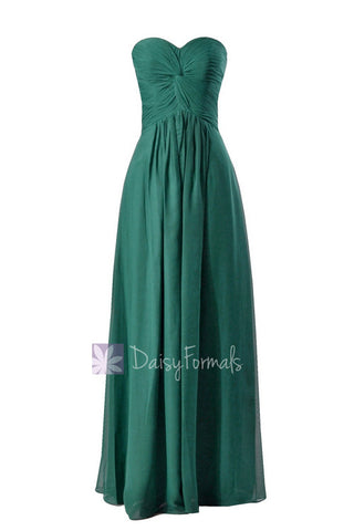 Charming Long Rich Peacock Bridesmaid Dress Strapless Luxury Chiffon Dress(BM7915)
