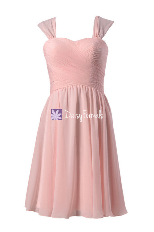 Plus size chiffon bridesmaid dress short blush pink homecoming dress evening dress (bm800s)