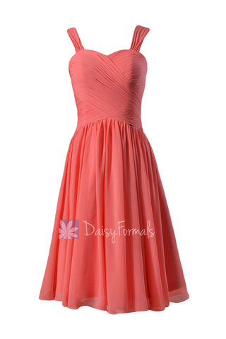 Coral Sweetheart Chiffon Bridesmaid Dress  Elegant Knee Length Party Dress w/ Straps(BM800)