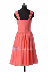 Coral sweetheart chiffon bridesmaid dress  elegant knee length party dresses w/ straps(bm800)