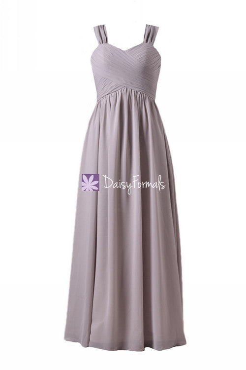 Glamorous long chiffon special occasion evening dress light brown grey beach wedding party dress (bm800l)