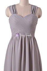 Glamorous long chiffon special occasion evening dress light brown grey beach wedding party dresses (bm800l)