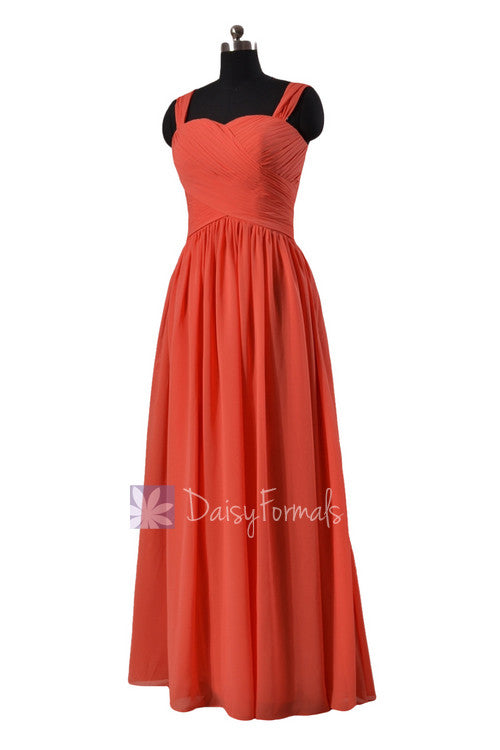 Pink orange sweetheart long bridesmaid dress chiffon formal dress online w/ straps(bm800l)