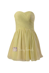 Cute strapless light yellow mini skirt party dress sweetheart chiffon discount bridesmaid dress(bm800n)