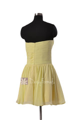 Cute Strapless Light Yellow Mini Skirt Party Dress Sweetheart Chiffon Bridesmaid Dress(BM800N)